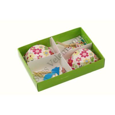 Virágos muffin dekoráló szett
