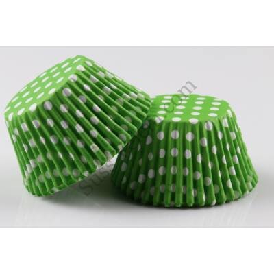 Zöld alapon fehér pöttyös muffin papír 100 db