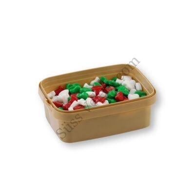 20 dkg fehér-zöld-piros karácsonyi harang cukorgyöngy