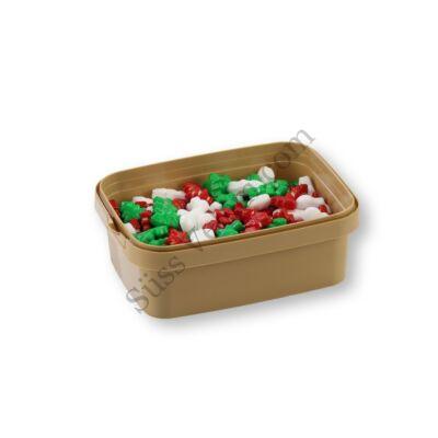 20 dkg fehér-zöld-piros karácsonyi hóember és fenyőfa cukorgyöngy