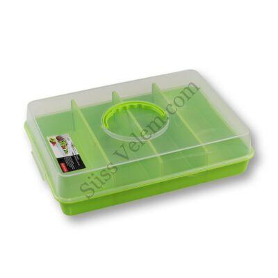 Zöld műanyag süteményes doboz osztható rekeszekkel