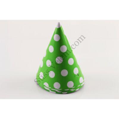 Zöld pöttyös party kalap