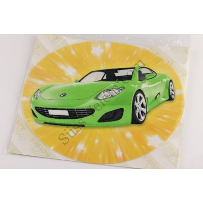 Zöld sportkocsi tortaostya